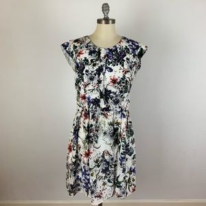 Rebecca Taylor Floral Flutter Sleeve Dress